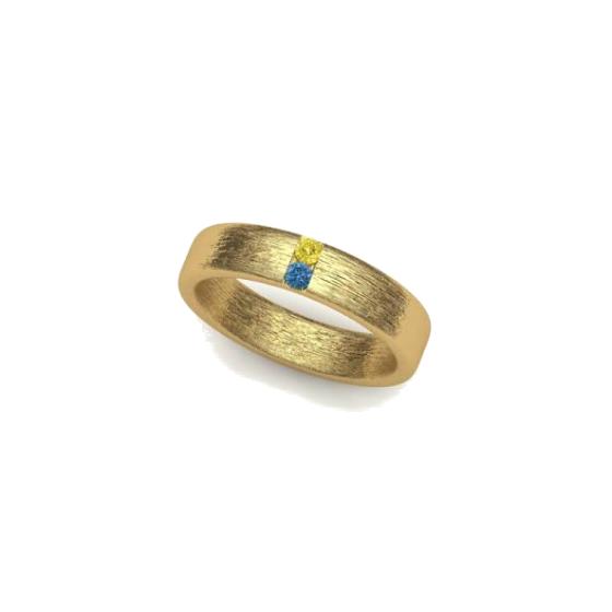 memorial ring aqua and yellow diamond ring
