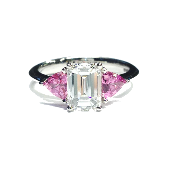 Emerald cut and pink sap